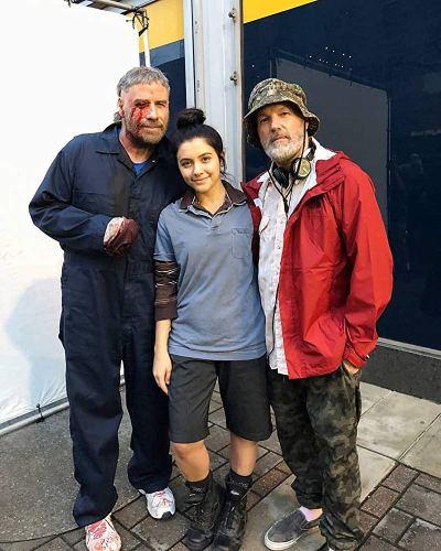 John Travolta, Ana Golja and Fred Durst on set