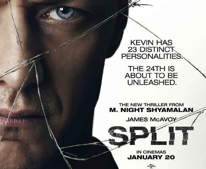 Split movie poster starring James McAvoy directed by M. Night Syamalan