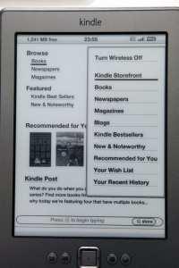 Kindle Store Menu
