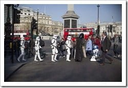 """Jeff Moore 02/04/12<br /> """"THIS PICTURE IS FREE TO USE FOR EDITORIAL PURPOSES""""<br /> Darth Vader, Stormtroopers and R2-D2 spotted in Central London today in anticipation of the Kinect Star Wars game launch on 3rd April, exclusively on Xbox 360.<br />"""