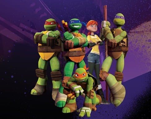 Pictured:   Raphael  (red mask), Leonardo (blue mask),  April (red hair), Donatello  (purple mask) and Michelangelo  (orange mask),  in TEENAGE MUTANT NINJA TURTLES on Nickelodeon.  Photo:  Nickelodeon. ©2012 Viacom, International, Inc.  All Rights Reser