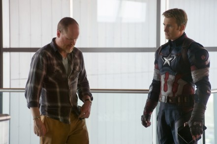 Joss Whedon & Chris Evans on set Avengers: Age of Ultron