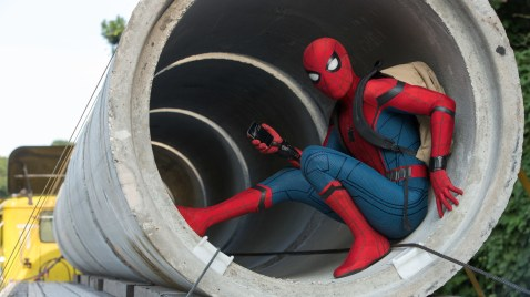 Tom Holland as Spider-Man in Spider-Man: Homecoming