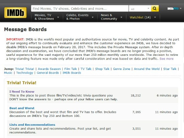 IMDb Message Board Archives: Are They Legal? - Movie & TV Forums