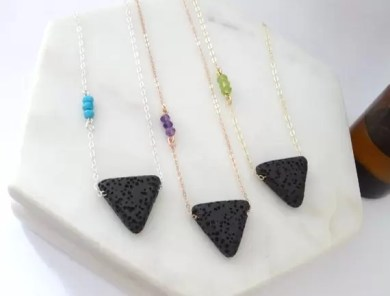 Lava Rock Triangle Aromatherapy Essential Oil Diffuser Necklace self care hot holiday gifts
