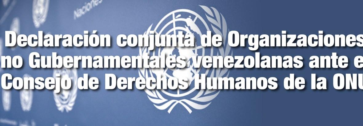 Declaración conjunta de Organizaciones no Gubernamentales venezolanas ante el Consejo de Derechos Humanos de la ONU