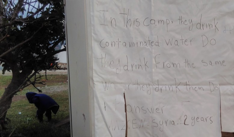 Statement written on the Food Distribution tent Photo: Moving Europe