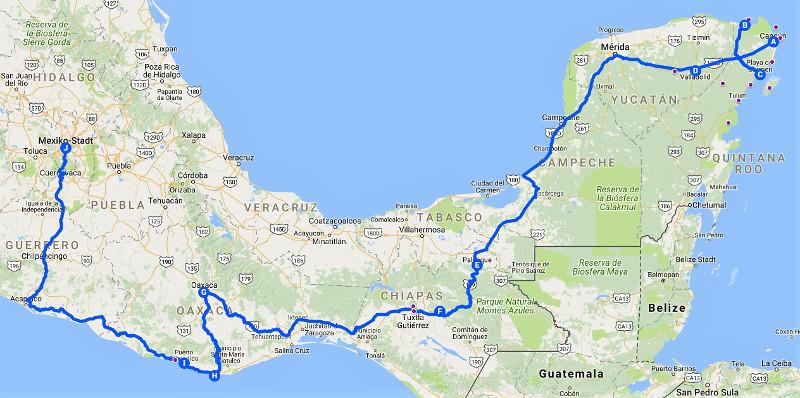 Reiseroute - Zwei Monate Mexiko - Backpacking Reiseroute