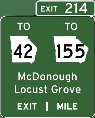 Exit 214 signage