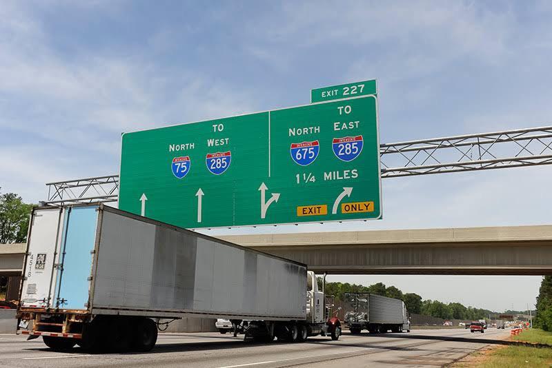 I-75 and I-675 Interchange with semi-truck
