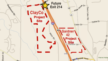Map of ClayCo and Gardner 42 projects in Locust Grove