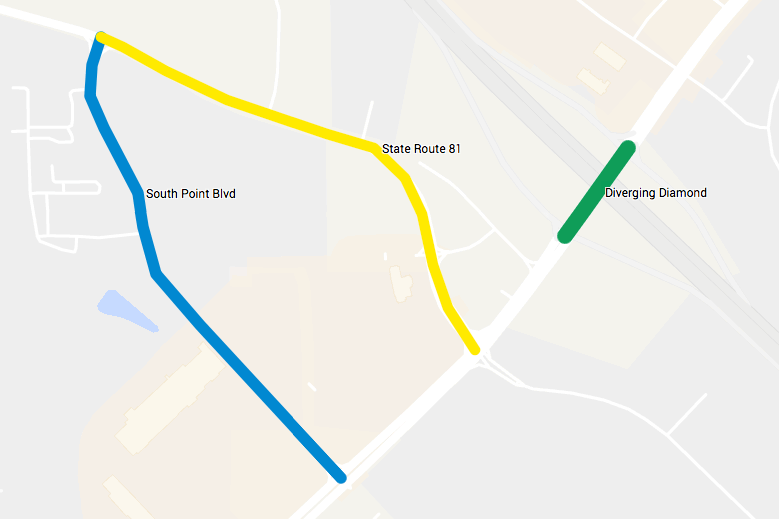 Map of transportation projects within the South Point area