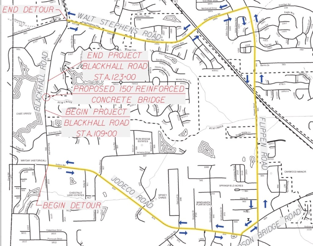 Detour map for Blackhall Road closure