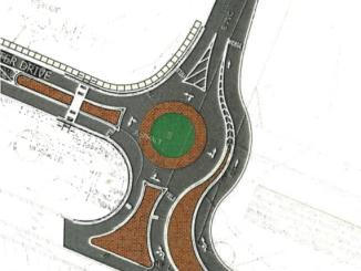 Postmaster Drive roundabout (McDonough photo)