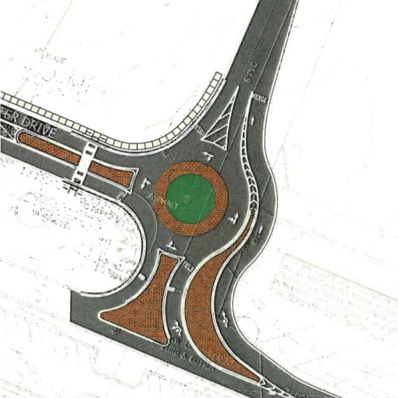 Postmaster Drive roundabout (McDonough photo)
