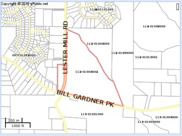 Map for proposed mixed use project at Bill Gardner Parkway and Lester Mill Road