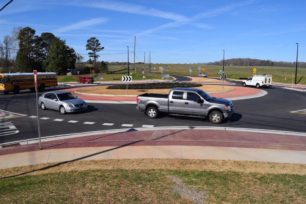 Photo of completed roundabout at state route 20 and East Lake Road (Henry Herald photo)
