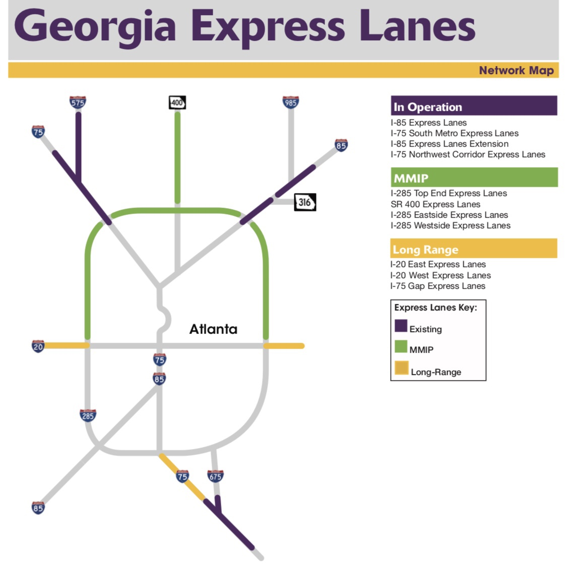 Map of the planned Georgia Express Lanes network