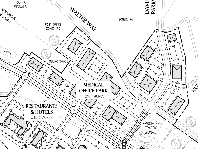 Reeves Creek concept site plan excerpt of medical office park