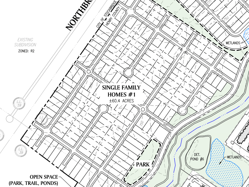 Reeves Creek concept site plan excerpt of single family homes 1