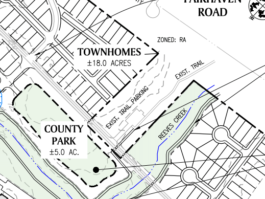 Reeves Creek concept site plan excerpt of townhomes