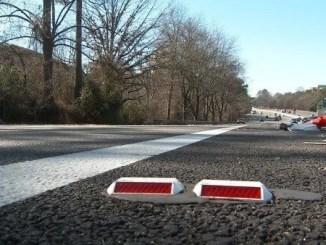 Photo of raised pavement marker on Georgia interstate (CBS 46 photo)