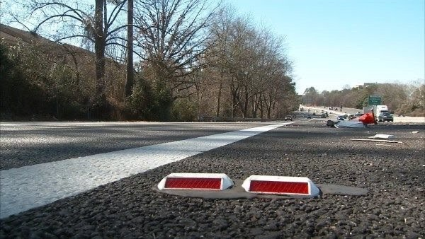 Photo of raised pavement marker on Georgia interstate (CBS 46 photo)