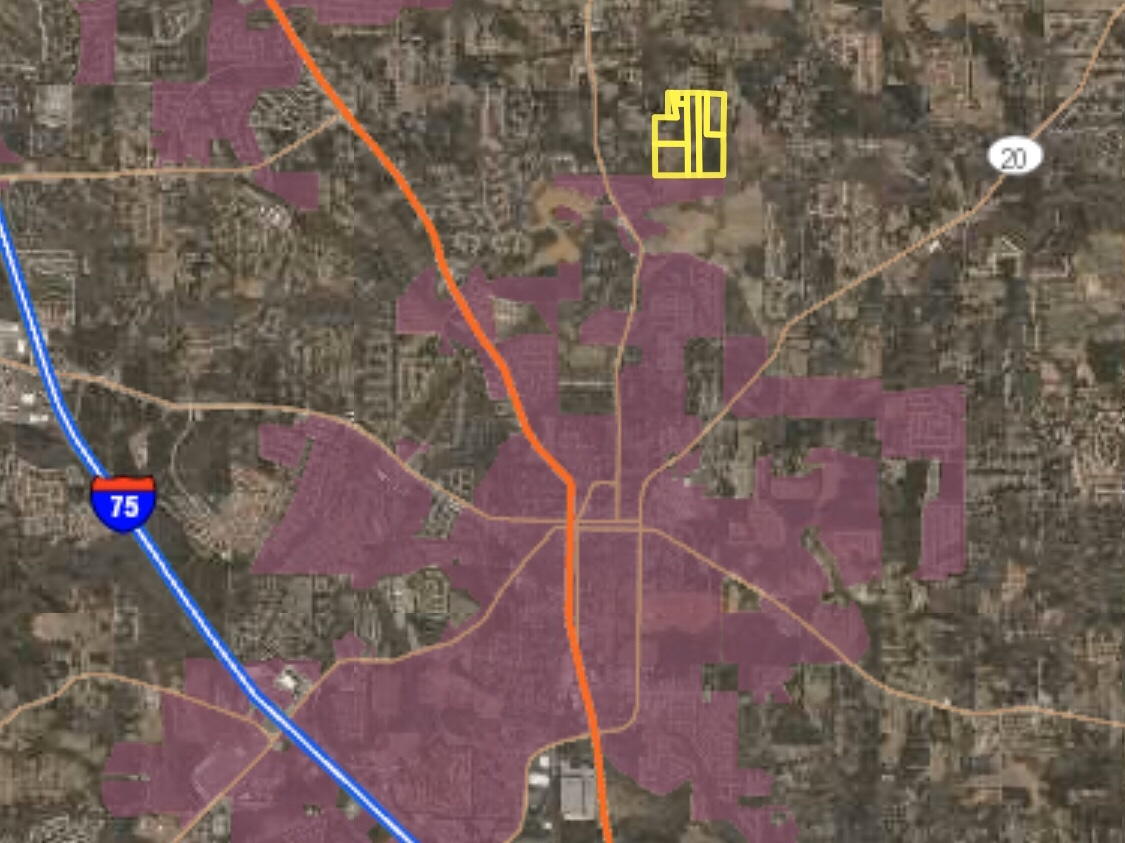 Area map highlighting Campground Road annexation request and McDonough city limits (Henry County photo)