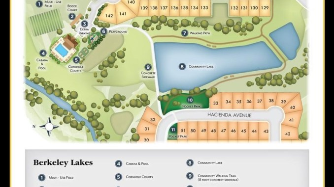 Map of community amenities at Berkeley Lakes subdivision (Knight Homes photo)