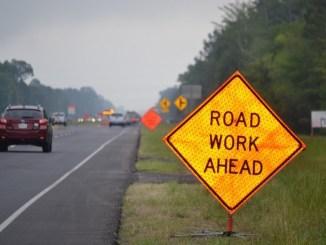 Photo of road work ahead sign in a work zone (Georgia DOT photo)