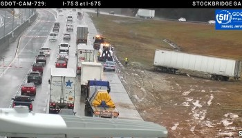 Photo of a tractor-trailer accident at I-75 and I-675 in December 2019 (GDOT camera photo)