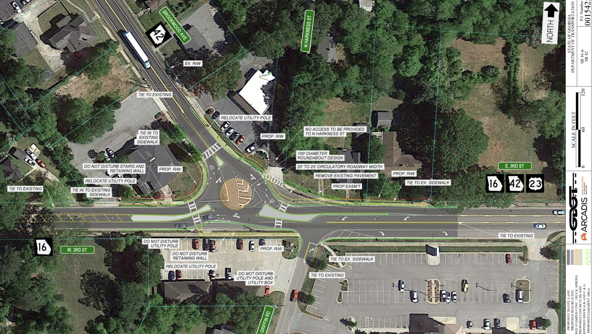 Concept layout for SR 42 roundabout at SR 16 W in Jackson (Georgia DOT photo)