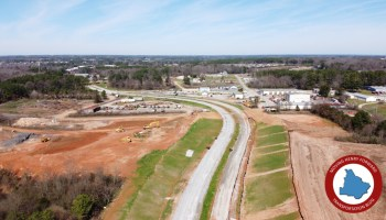 Photo of McDonough Parkway southwest segment under construction in February 2020 (staff photo)