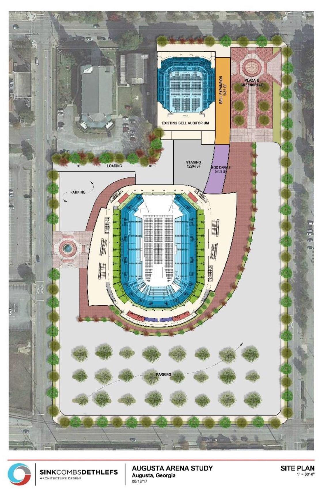 Site plan for new Augusta arena (Augusta Chronicle photo / May 2018)