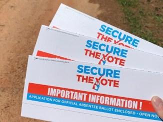 Photo of absentee ballot applications (Savannah Simpson photo)