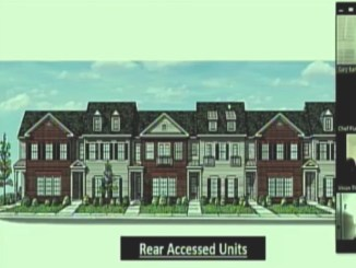 Front elevation for East Lake at Springdale townhomes (Moore Bass Consulting photo)
