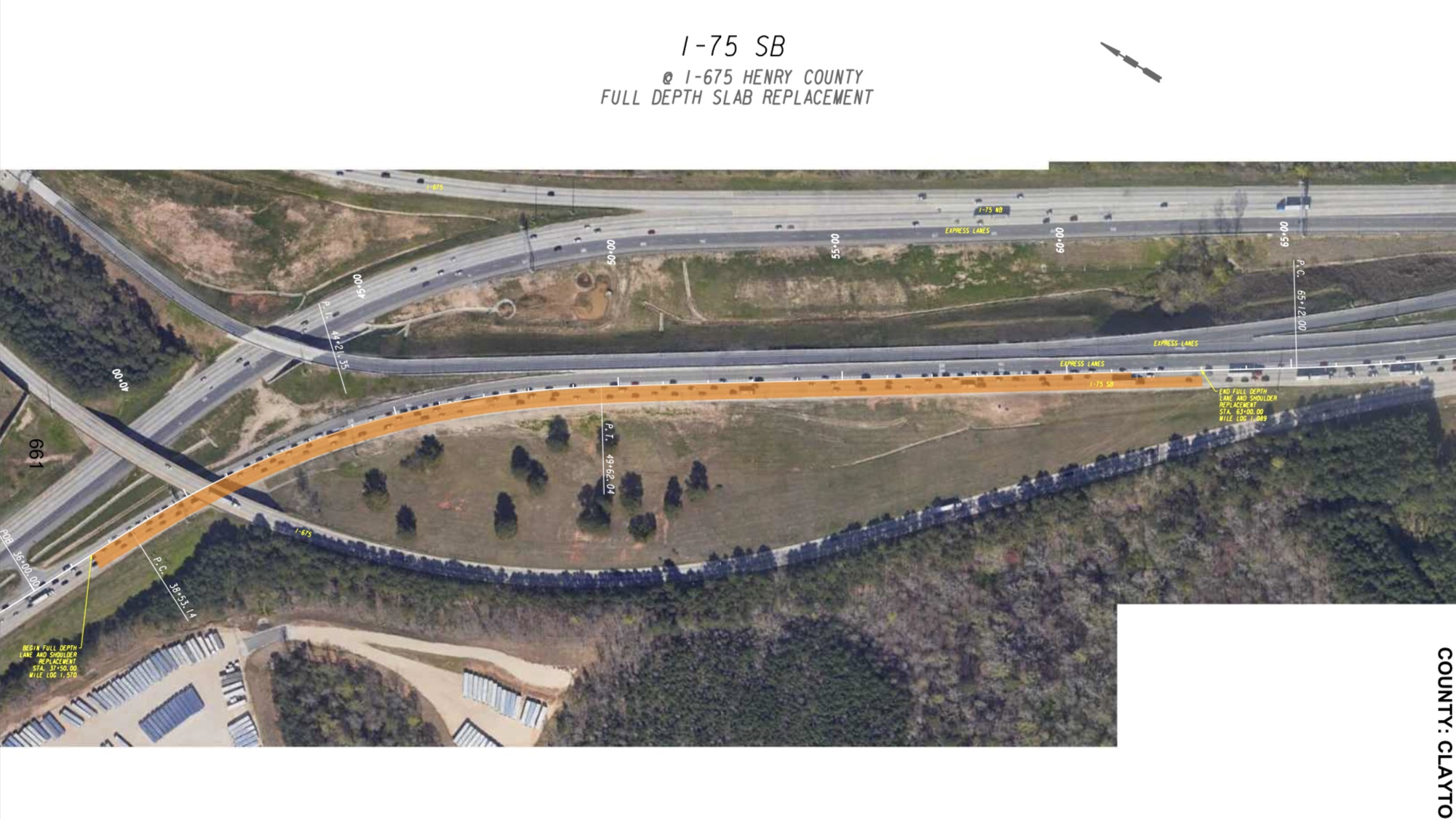 Full depth replacement at I-75 southbound (Georgia DOT photo)