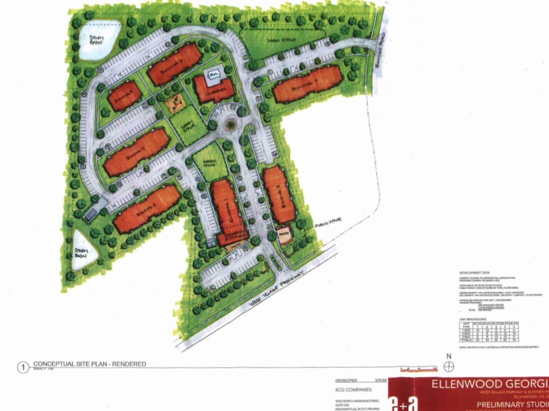 Concept site plan for KCG Development apartments (Ebersoldt + Associates, LLC photo)
