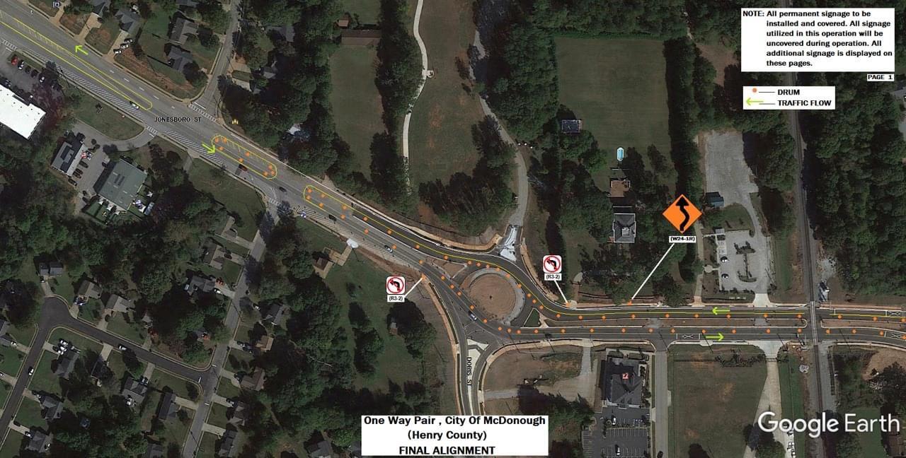 Final staging plans for Jonesboro Road at Doris Street (Georgia DOT photo)