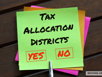 Sticky note with Tax Allocation District written on it (staff graphic)