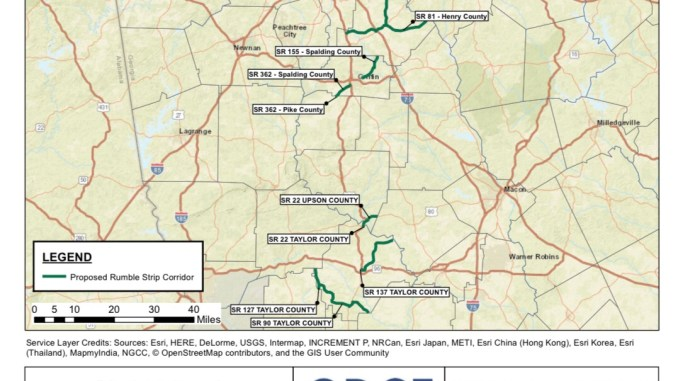 Map of rumble strips to be installed in 2020 (Georgia DOT photo)