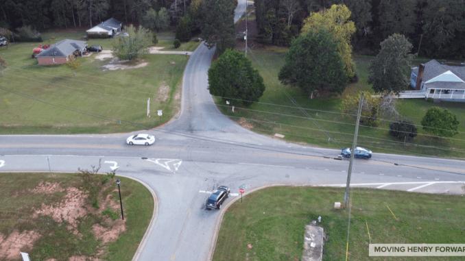 Aerial photo of Racetrack Road at Iris Lake Road (staff photo)