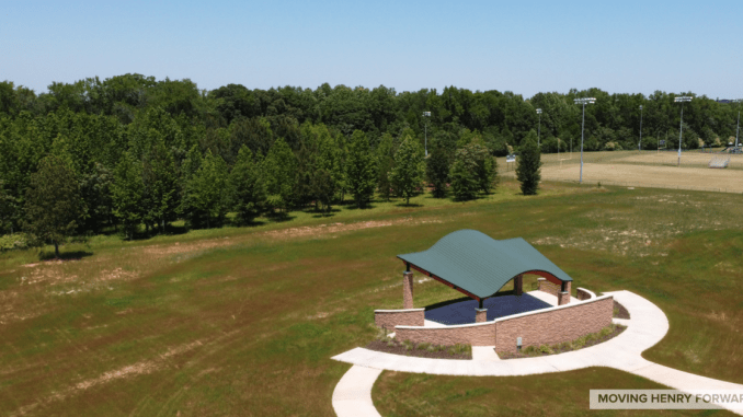 Aerial photo of Avalon Park bandstand (staff photo)