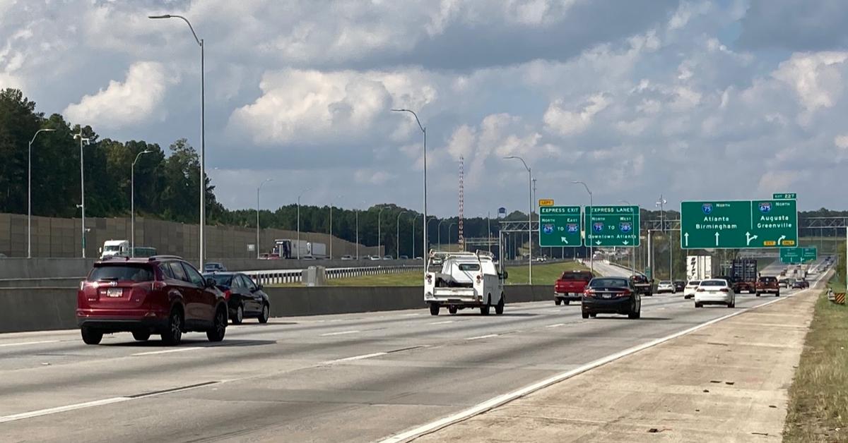 Photo of I-75 northbound before I-675 (Georgia DOT photo)