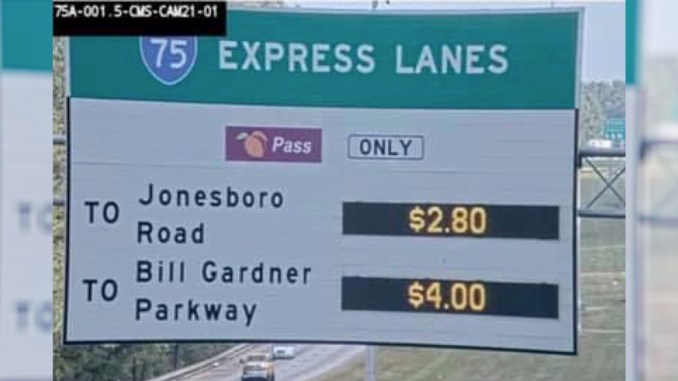 Photo of I-75 South Metro Express Lanes toll prices in October 2020 (SRTA photo)