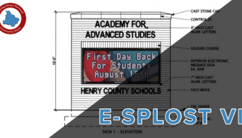 Concept of school electronic message boards on E-SPLOST VI cover (Henry County Schools concept)