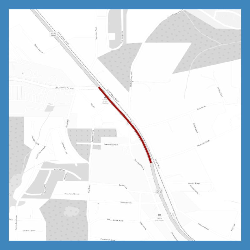 Map of SR 42 widening between Bill Gardner Parkway and Peeksville Road in Locust Grove (staff photo)
