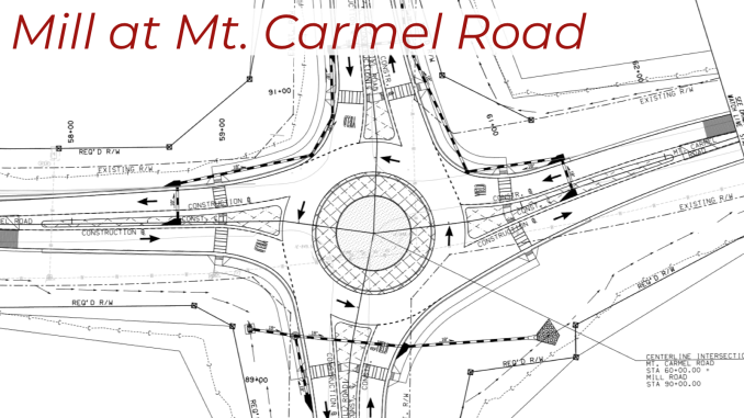 Construction plan for Mill Road at Mt. Carmel Road roundabout (Henry County photo)