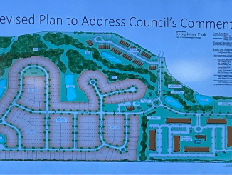 Photo of Symphony Park concept plan in March 2021 (staff photo)