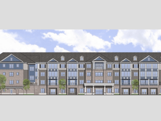 Building elevation for Harmony at Stockbridge senior living communities. Photo shows a four-story building with windows and brick finishes. (Contineo Group photo)